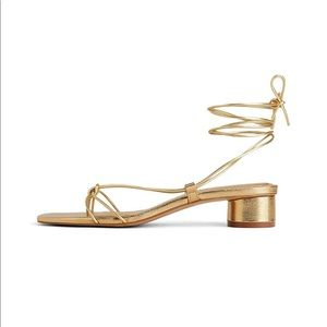 NEW! ZARA Gold Leather Strappy Sandals